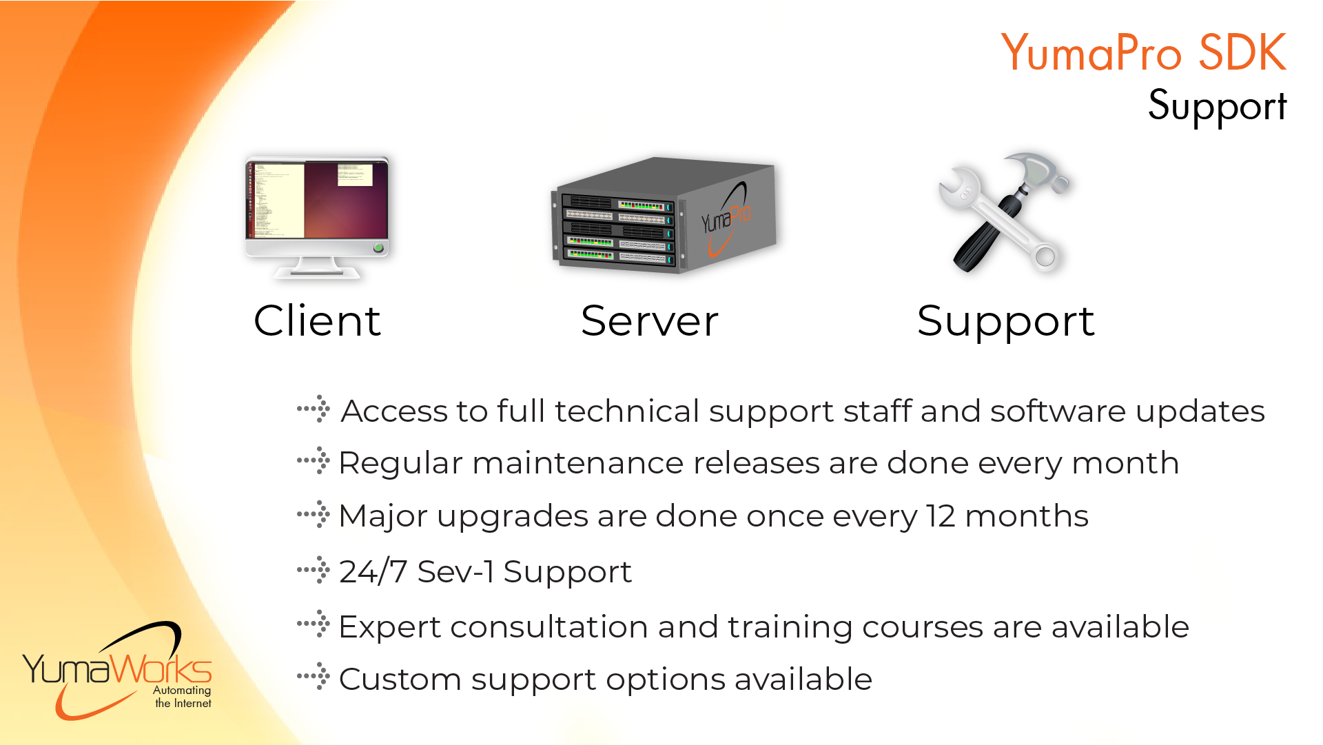 YumaPro SDK Support and Licensing features: Access to full technical staff and monthly software updates; major upgrades once every 12 months; 24/7 Sev-1 Support; Expert consultation and training courses are available; Custom support options available